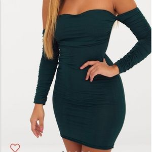 Ruched front bandeau bodycon dress